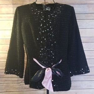 NWT Victor Costa black sequin beaded S blazer